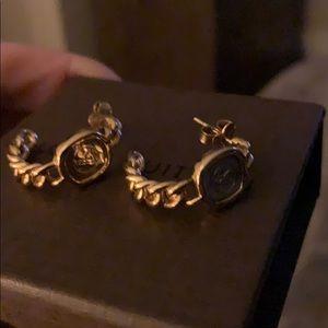 Louise Vuitton Gold silver pierced earrings
